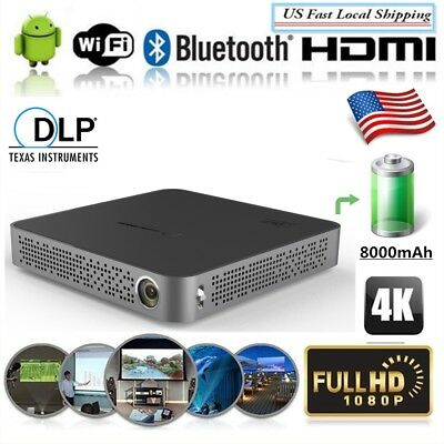 Mini Portable DLP 5500 Lumens 4K Android Wifi Home Theater Projector 8G 2018 New