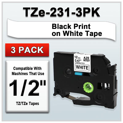 3pk Tze231 Black On White Label Tape Compatible For Brother Tz 231 P-touch 12mm