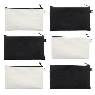 6x Lot Blank Canvas Pouch Zipper Makeup Bag Black White 7-3/4