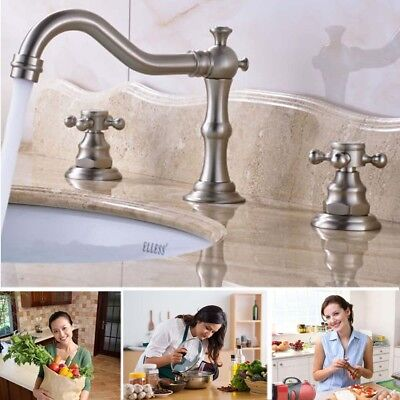 Widespread Sink Basin Faucet Dual Cross Knobs Mixer Tap Bathroom 3 Hole 2 - Hole Widespread Lavatory Faucet Cross