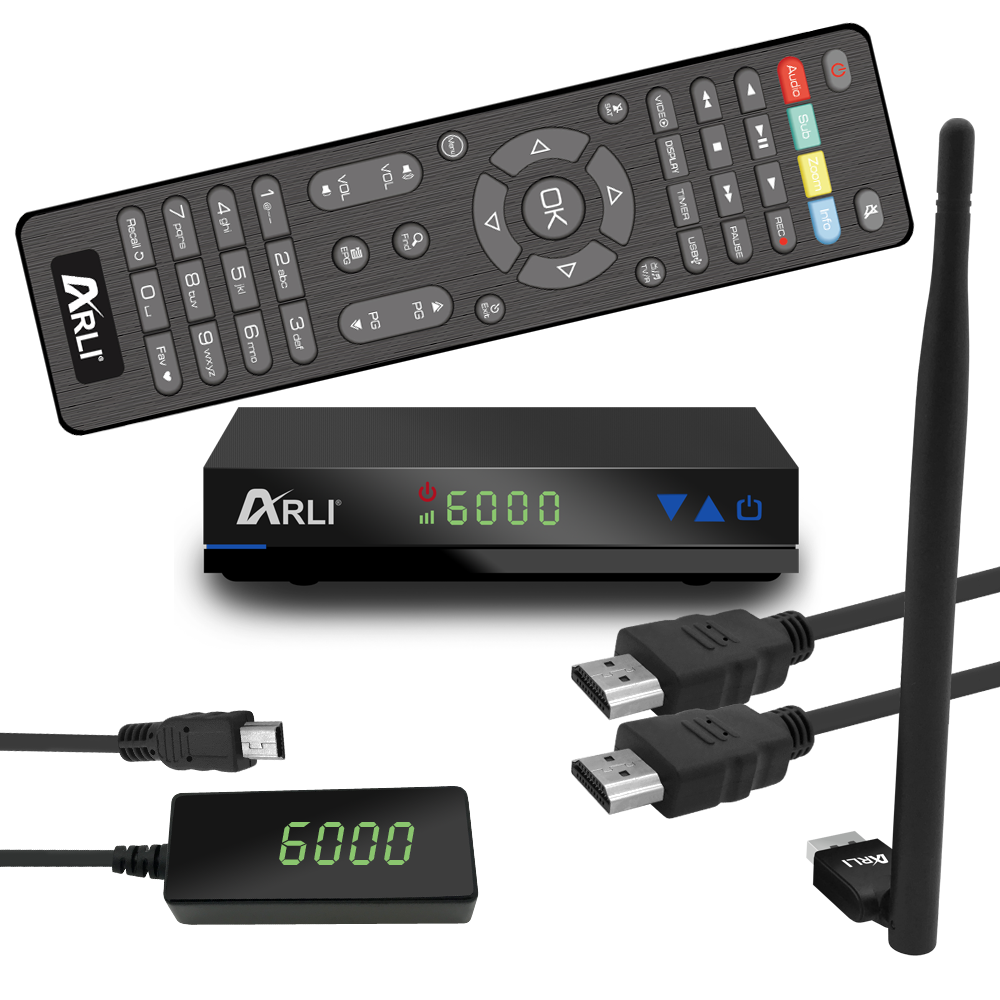 ARLI AH1 HD Sat Receiver + Wifi Stick digitaler Satelliten DVB-S2 HDTV internet