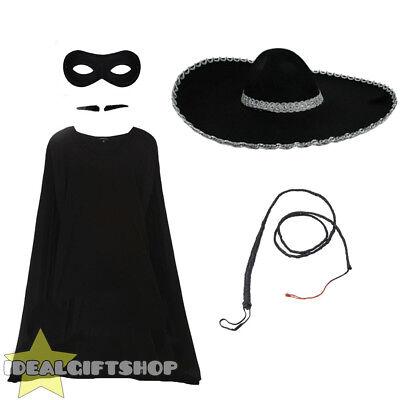 MENS ZORRO SPANISH SUPERHERO BLACK BANDIT LEGEND FANCY DRESS MOVIE COSTUME SET - Black Bandit Kostüm