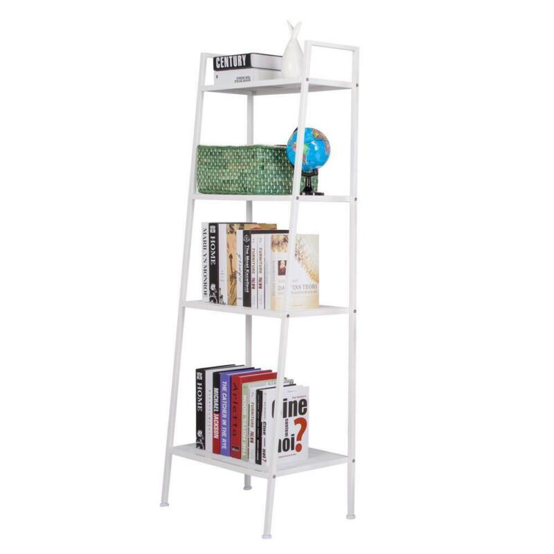 4 Tier Leaning Ladder Shelf Shelving Bookshelf Storage Organizer Standing