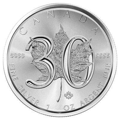1 oz Silber 30 Jahre Maple Leaf 2018 - Kanada Silbermünze 999,9 Jubiläum