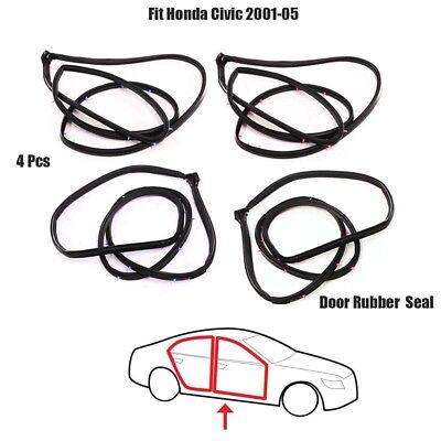 4x Door Rubber, Door Seal Fit Honda Civic 2001-2005 Front