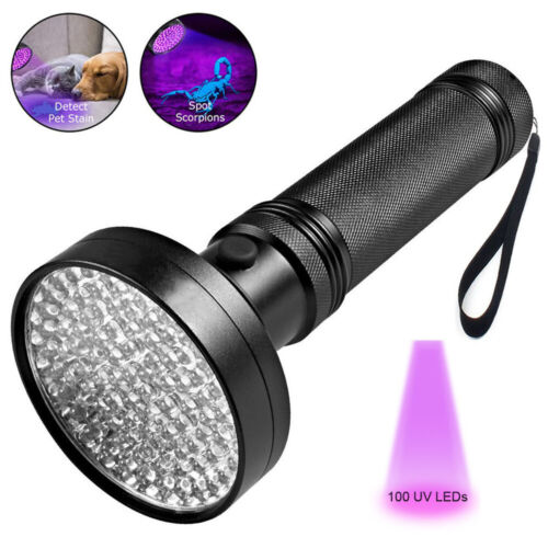 Professional 100 LED Black Light UV Flashlight 395 NM UV Detector for Pet Urine Detection Cat Urine Bed Bugs Machinery Leaks Inspection for Commercial//Domestic Use Scorpions