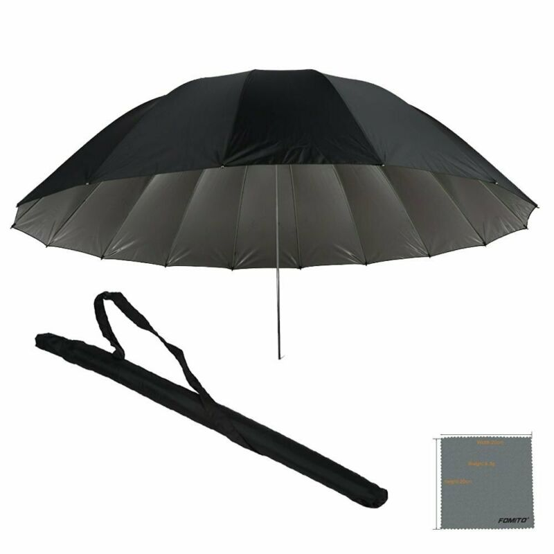Fomito 7 feet Mega Parabolic Flash Reflector Umbrella Black & Silver