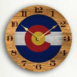 Colorado State Flag Traditional Western Style 12 Silent Wall Clock