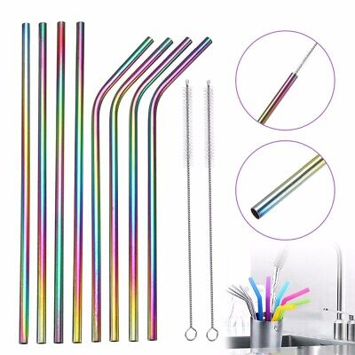 10Pcs Rainbow Stainless Steel Metal Straws Reusable Drinking Straw Cleaner -
