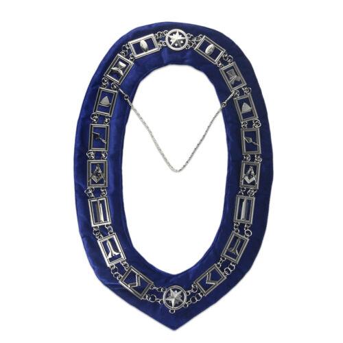 Masonic Blue Lodge Working Tools Velvet Collar Silver Chain