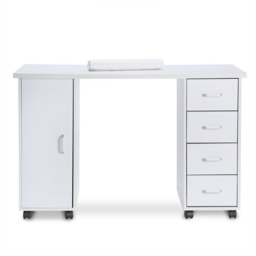 Details about Manicure Nail Salon Storage Station Table Bar Art Desk Beauty  with Drawers White