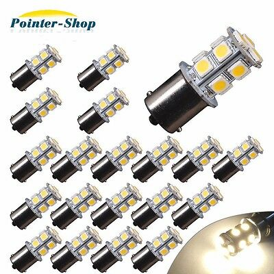 20x 4300K White 1156 13 SMD LED Interior Light Bulbs Daytime Running RV 1141 12V