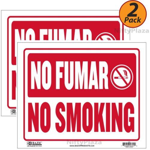 "2 Pack - No Smoking No Fumar Sign 9""x12"" Durable Plastic Weatherproof Bright"