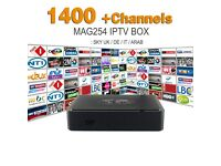 IPTV MAG 254 EUROPE ARAB INDIA 1 YEAR SERVICE 1400 + CHANNELS FULL HD / TV BOX / 100% BEST STREAMS