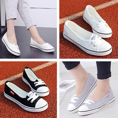 Women Fashion Canvas Flats Loafers Casual Breathable Flats Slip Comfy Shoes