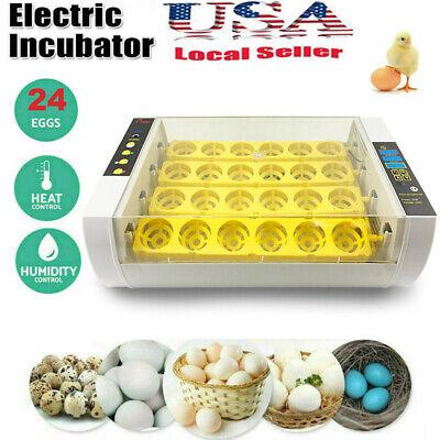 24 Eggs Fully Automatic Incubator Digital Poultry Hatcher Egg Turning LED Lamp