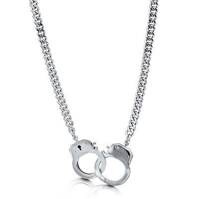 BERRICLE Silver-Tone Handcuffs Fashion Chain Necklace