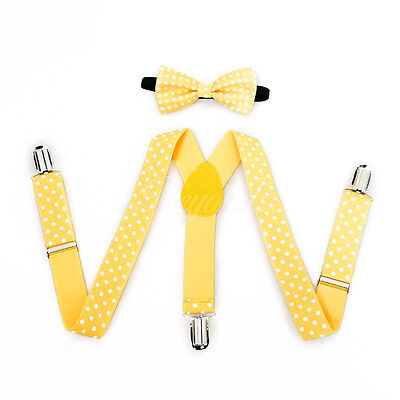 Yellow Polka Dots Suspender and Bow Tie Set for Baby Toddler Kids Girls (USA) - Yellow Bow Tie And Suspenders