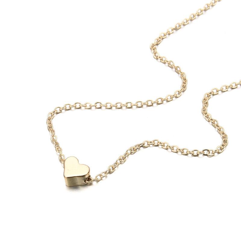 925 Silver Gold Heart Choker Chunky Chain Bib Necklace Women Jewelry Pendant GF