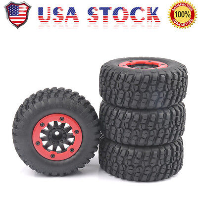4 pcs Bead-Lock Tire Wheel Rim For 1/10 Scale RC Short Course Car TRAXXAS Slash