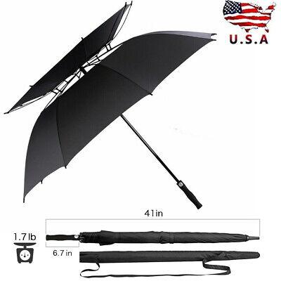 "Windproof Automatic Golf Umbrella 62"" Large Oversize Fiber Double Canopy Vented"