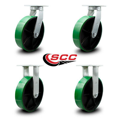Scc 12 Extra Heavy Duty Green Poly On Metal Caster Set - 2 Swivel2 Rigid-set 4