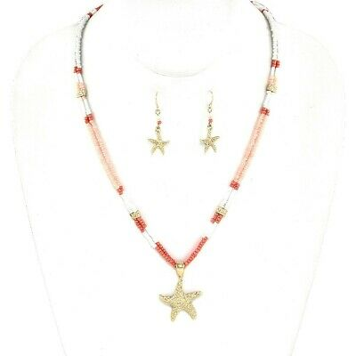 GOLD  & ORANGE  BEAD NECKLACE  SET - STARFISH  THEME