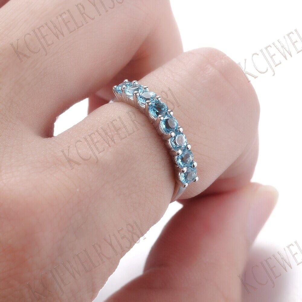 Sale Swiss Blue Topaz Solid 10K White Gold Gemstone Jewelry Wedding ...