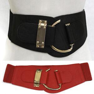 elastic leather gold hook buckle waist hip wide belt