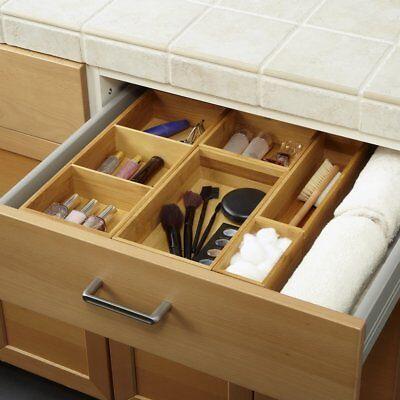 KItchen Drawer Organizer Expandable Silverware Tray Utensil Wood Cutlery Box Set