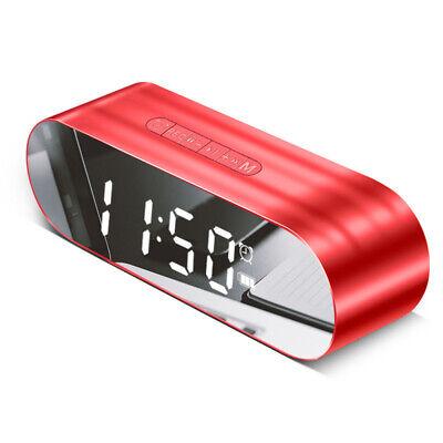 LED Alarm Clock W/ FM Radio Wireless Bluetooth Speaker Aux USB Music Player Red