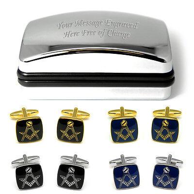 Masonic Cufflinks Personalised Engraved Gift Freemasonry Free Masons Present