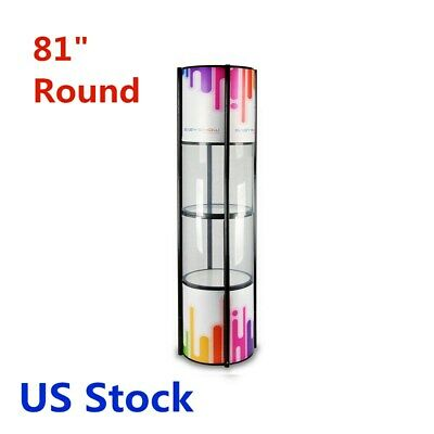Us Stock 81 Round Aluminum Spiral Tower Display Case Top Light Clear Panels