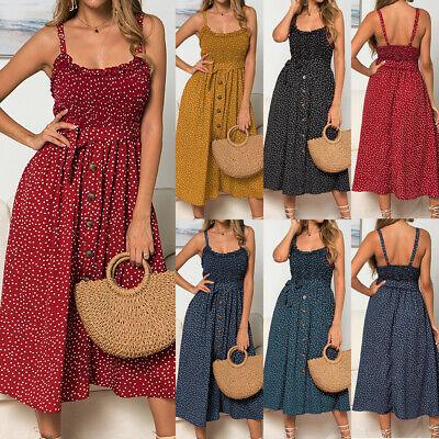 UK Women Summer Sleeveless Polka Dot Beach Dress Ladies Stretch Holiday Sundress