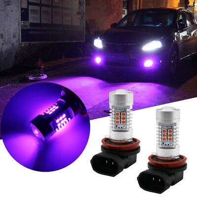 2PCS Pink Purple H8 H11 High Power 21W LED Bulbs For Fog Light DRL Driving Light