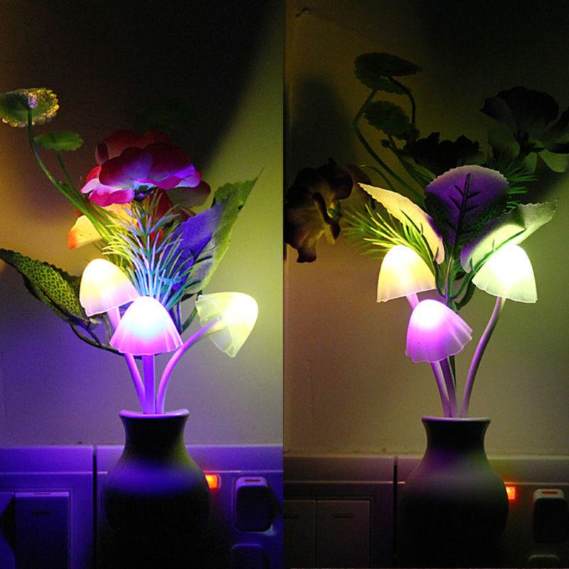 Romantic US Plug Flower Mushroom LED Night Light Sensor Baby