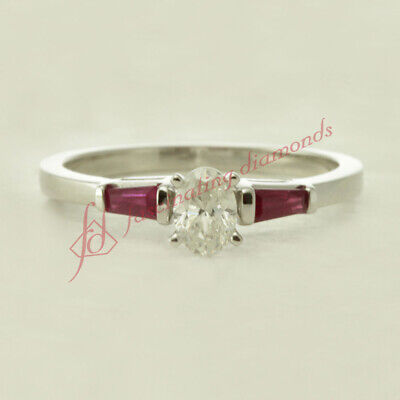 .65 Ct Oval Shaped G-Color Diamond & Baguette Ruby Engagement Ring GIA Certified