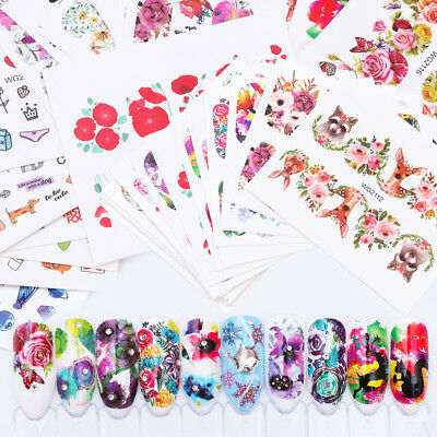 Slide Sheets - New 20 Sheets Nail Art Flower Wrap Water Transfer Slide Flower Decals Stickers