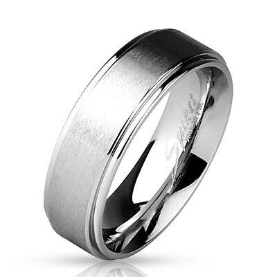 316L Stainless Steel Brushed Finish Plain Wedding Band Ring Size 5