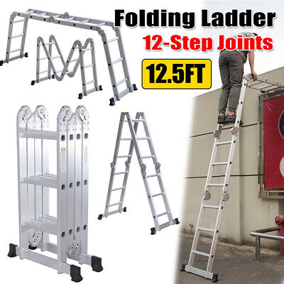 12.5ft Aluminum Multi Purpose Folding Ladder 12-step Joints Extension Scaffold