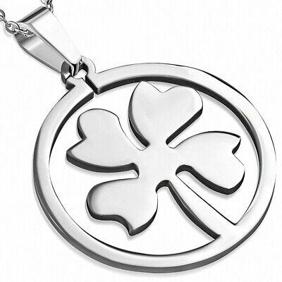 Anhänger Stahl Kreis mit Kleeblatt mit Vier Blätter