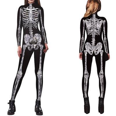 Women Skeleton Bone Frame Jumpsuit Bodysuit Fancy Dead Halloween Cosplay Fashion (Halloween Jumpsuit)