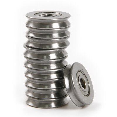 10x 5225mm Metal 1.5mm Deep V Groove Guide Pulley Rail Ball Bearings Wheel