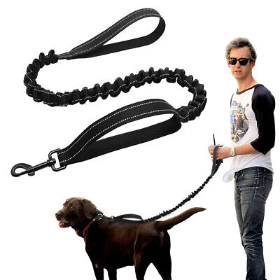 Dual Handle Dog Lead Elastic Stretch Nylon Rope Reflective Walking Leads Black