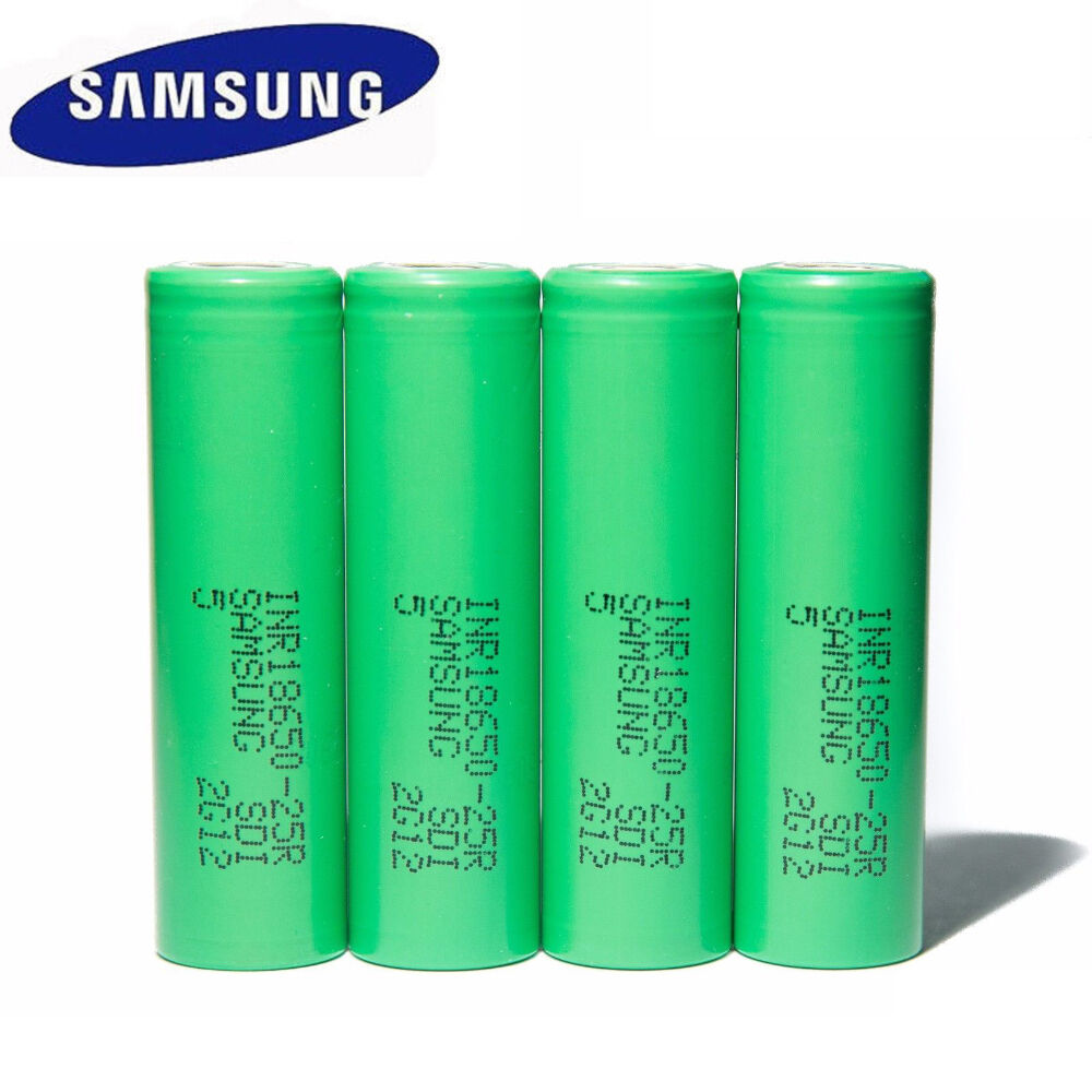4pcs Genuine Samsung Inr18650-25r Rechargeable 2500mah Ba...