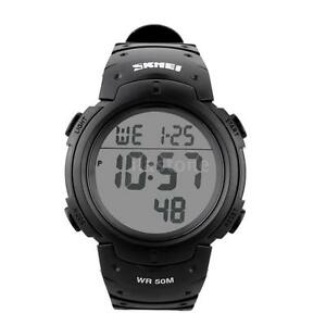 New Waterproof Men's LCD Digital Stopwatch Date Rubber Sport Wrist Watch UK Post