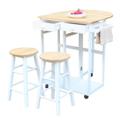 Portable Rolling Kitchen Storage Island Cart Trolley Folding Table w/2 Stools