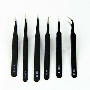 6x Professional Coated Precision Tweezers Set Stainless Steel Non Magnetic Craft