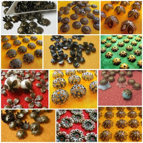 Filigree Bead Cap Sampler Lot Antiqued Brass Copper or Both 120 - 280pcs