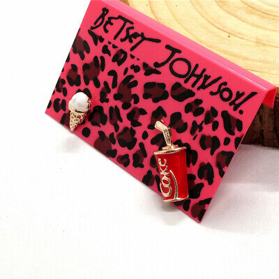 Hot Betsey Johnson Red Enamel Coca Cola Ice Cream Crystal Stand Earrings Gift